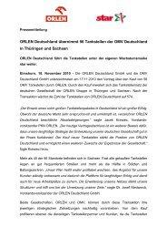PDF: ORLEN Deutschland übernimmt 56 Tankstellen der OMV