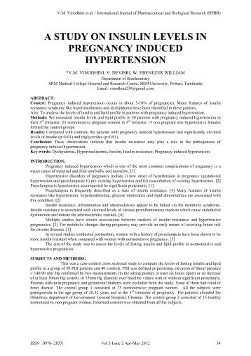 a study on insulin levels in pregnancy induced hypertension