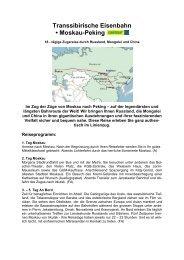 Transsibirische Eisenbahn Moskau-Peking 2013 - railtour