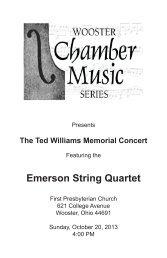Program - Wooster Chamber Music Series