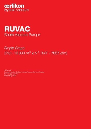 Roots Vacuum Pumps Single-Stage 250 - 13 000 m x h (147 - 7657 ...