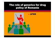 The role of generics for drug policy of Romania