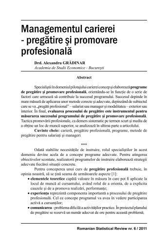 Managementul carierei - Revista Română de Statistică