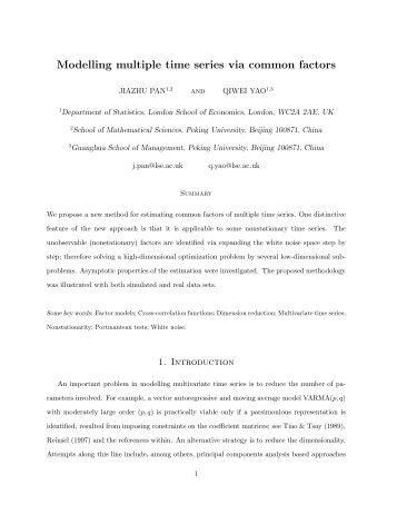 Modelling multiple time series via common factors - LSE Statistics