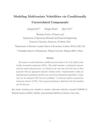 Modeling Multivariate Volatilities via Conditionally ... - LSE Statistics