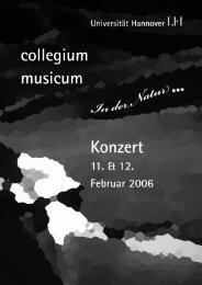 Programmheft WiSe 2005/2006 - Collegium Musicum Hannover