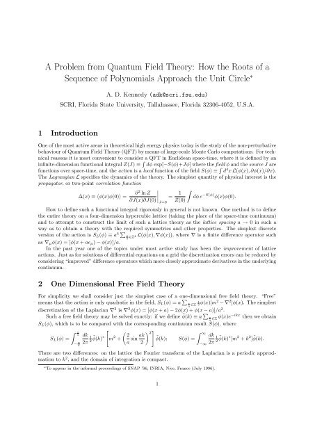 A Problem from Quantum Field Theory: How the Roots of a ...
