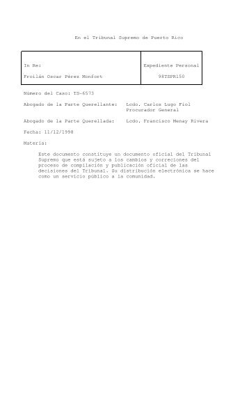 98 TSPR 150 - Rama Judicial de Puerto Rico