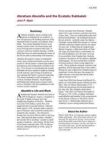 Abraham Abulafia and the Ecstatic Kabbalah - Spirituality for the ...