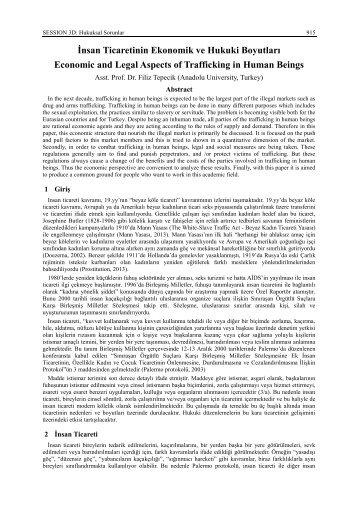 İnsan Ticaretinin Ekonomik ve Hukuki Boyutları Economic and Legal ...
