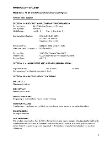 product and company information section ii – ingredient and hazard ...