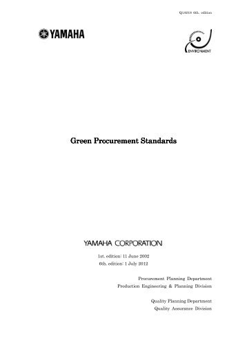 Green Procurement Standards Green Procurement ... - Yamaha