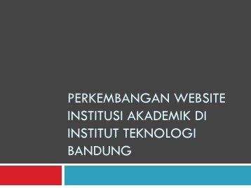 Perkembangan Website Institusi Akademik