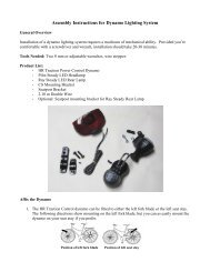 Assembly Instructions for Dynamo Lighting System - Cantitoe Road