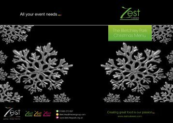 The Bletchley Park Christmas Menu - Zest Caterers