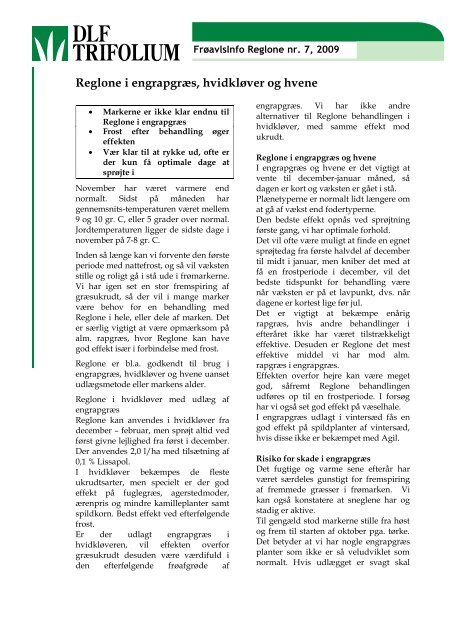 Reglone i engrapgræs, hvidkløver og hvene - DLF-TRIFOLIUM ...