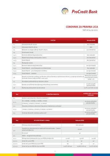Cenovnik usluga za pravna lica - ProCredit Bank