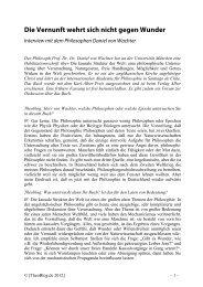 Die Vernunft wehrt sich nicht gegen Wunder Interview ... - TheoBlog