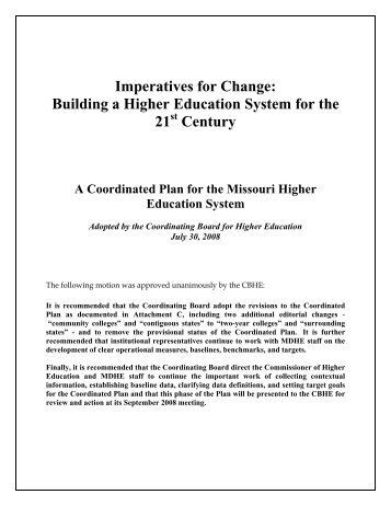 Coordinated Plan - Missouri Department of Higher Education
