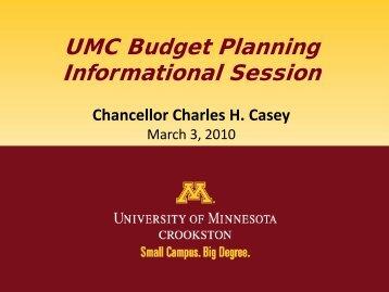 UMC Budget Planning Informational Session - University of ...