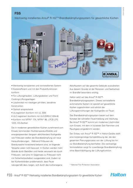 FSS Ansul® R-102TM fire suppression system for ... - Halton