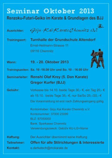 Ausschreibung - Koryukan Chemnitz