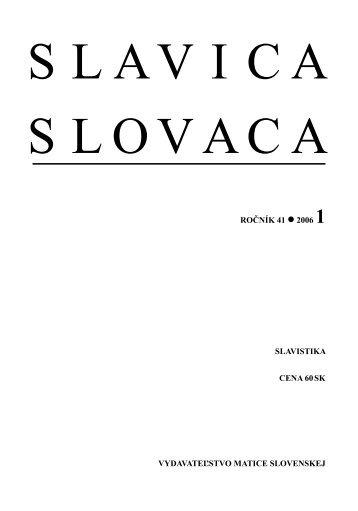 Číslo 1 - Slavistický ústav Jána Stanislava SAV