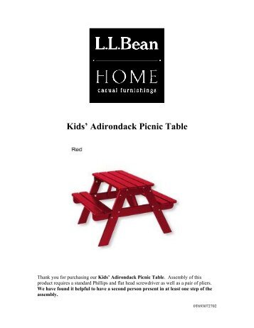 Kidsu0027 Adirondack Picnic Table   L.L. Bean