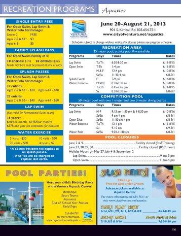 Summer 2013 schedule, fees, programs & classes - City Of Ventura