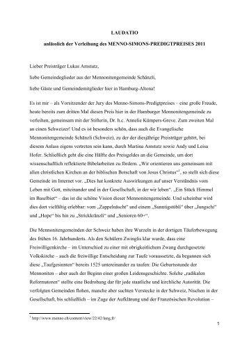 Laudatio - Fachbereich Evangelische Theologie