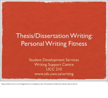 Thesis/Dissertation Writing - Student Development Services