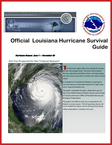 Official Louisiana Hurricane Survival Guide T - Governor's Office of ...