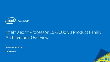 IntelR XeonR Processor E5-2600 v3 Overview for SC14