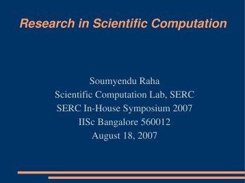 Research in Scientific Computation - SERC
