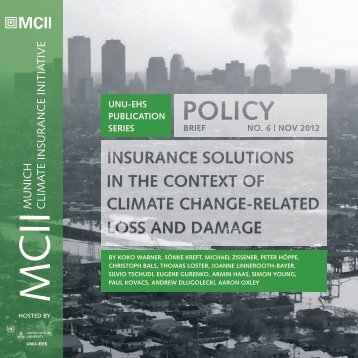 Insurance solutions in the context of climate change-related loss and ...