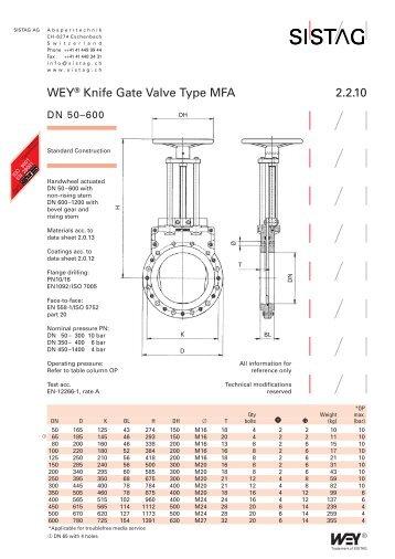 WEY® Knife Gate Valve Type MFA 2.2.10