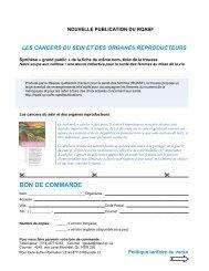 bon de commande - Réseau québécois d'action pour la santé des ...