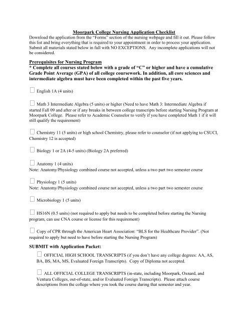 Moorpark College Nursing Application Checklist Prerequisites for
