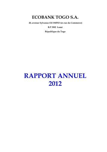 Rapport Annuel 2012 definitif - Ecobank