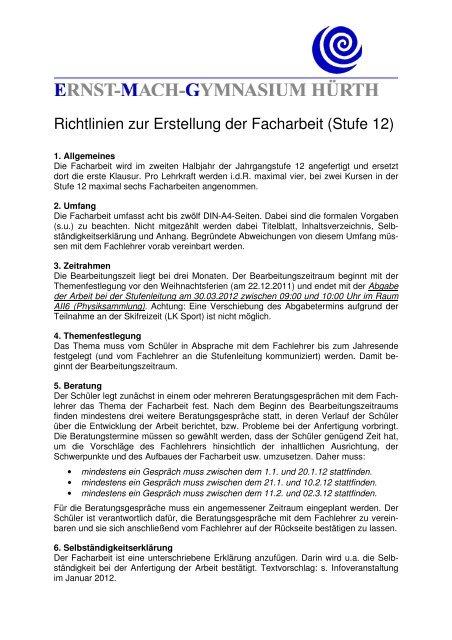 Richtlinien Zur Erstellung Der Facharbeit Stufe 12