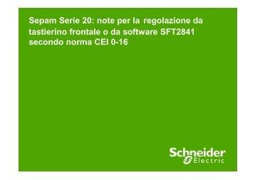 Regolazione Sepam S20 CEI 0-16 - Schneider Electric
