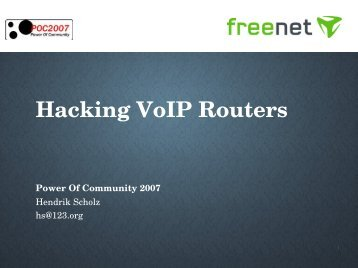 Hacking VoIP Routers - Power of Community!