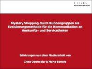 Mystery Shopping durch Fokusgruppen - OPUS Bayern