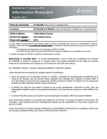Avis Financier Résultats du 1er semestre 2013 - Dassault Aviation