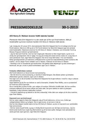 Henry D. Nielsen leverer hidtil største handel - AGCO Danmark A/S