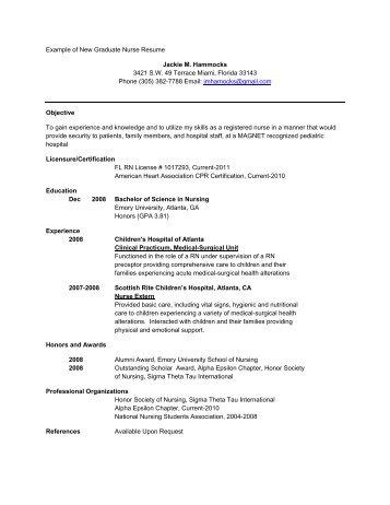 example of new graduate nurse resume school of nursing