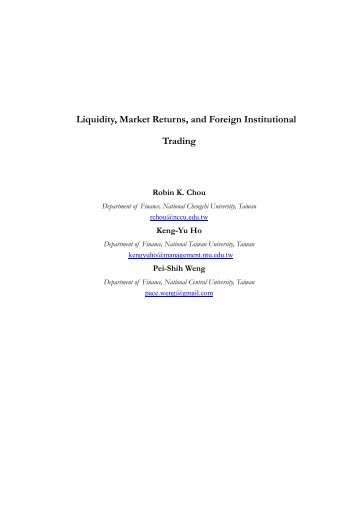 Liquidity, Market Returns, and Foreign Institutional Trading