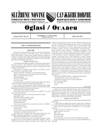 UPIS U SUDSKI REGISTAR TRAVNIK Godina XVIII - Broj 15 ...