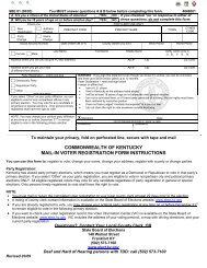 Voter Registration Card - Kentucky State Board of Elections