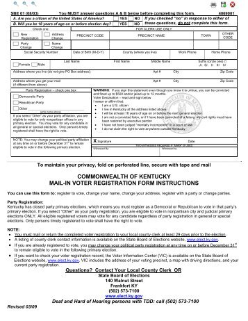 NC Voter Registration Form - State Board of Elections